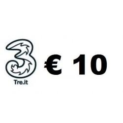 Ricarica TRE online 10,00 EURO