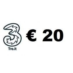 Ricarica TRE online 20,00 EURO
