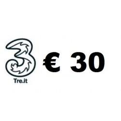 Ricarica TRE online 30,00 EURO