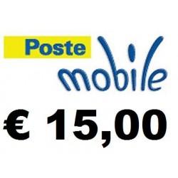 Ricarica POSTEMOBILE online 15,00 EURO